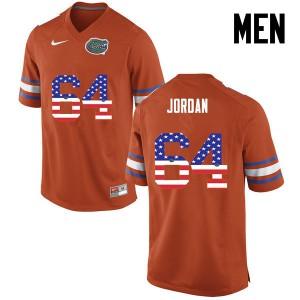 Men Florida Gators #64 Tyler Jordan College Football USA Flag Fashion Orange 405874-780