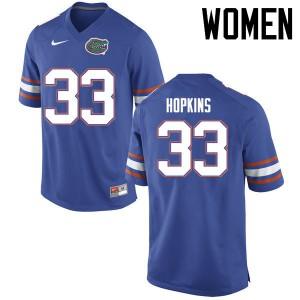 Women Florida Gators #33 Tyriek Hopkins College Football Jerseys Blue 199580-111