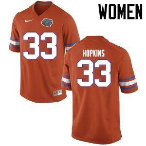 Women Florida Gators #33 Tyriek Hopkins College Football Jerseys Orange 853397-681