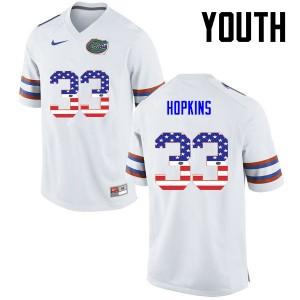 Youth Florida Gators #33 Tyriek Hopkins College Football USA Flag Fashion White 855438-561