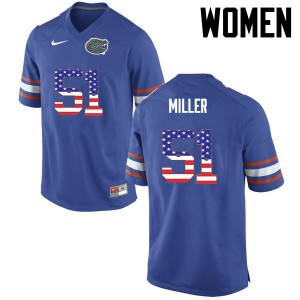 Women Florida Gators #51 Ventrell Miller College Football USA Flag Fashion Blue 216612-128