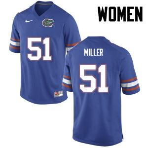 Women Florida Gators #51 Ventrell Miller College Football Blue 392374-981