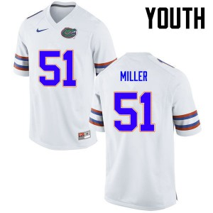 Youth Florida Gators #51 Ventrell Miller College Football White 176033-500