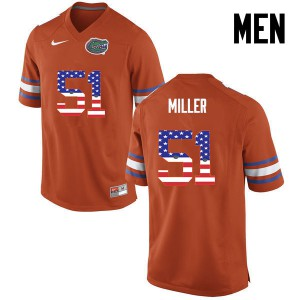Men Florida Gators #51 Ventrell Miller College Football USA Flag Fashion Orange 914612-923