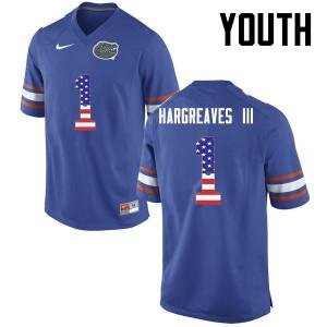 Youth Florida Gators #1 Vernon Hargreaves III College Football USA Flag Fashion Blue 484023-279