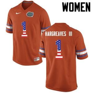 Women Florida Gators #1 Vernon Hargreaves III College Football USA Flag Fashion Orange 127988-573