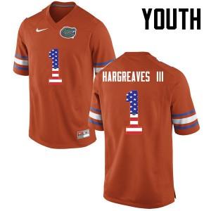 Youth Florida Gators #1 Vernon Hargreaves III College Football USA Flag Fashion Orange 550783-928