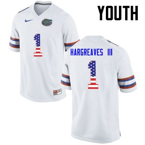 Youth Florida Gators #1 Vernon Hargreaves III College Football USA Flag Fashion White 238693-599