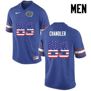 Men Florida Gators #89 Wes Chandler College Football USA Flag Fashion Blue 333216-811