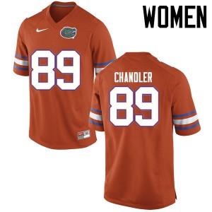 Women Florida Gators #89 Wes Chandler College Football Jerseys Orange 556552-321