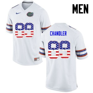 Men Florida Gators #89 Wes Chandler College Football USA Flag Fashion White 804907-881