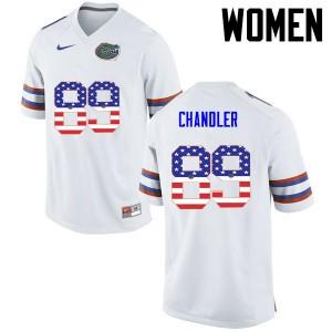 Women Florida Gators #89 Wes Chandler College Football USA Flag Fashion White 270251-374