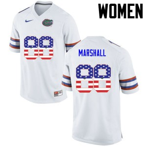 Women Florida Gators #88 Wilber Marshall College Football USA Flag Fashion White 223288-786