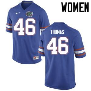 Women Florida Gators #46 Will Thomas College Football Jerseys Blue 388744-930