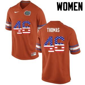 Women Florida Gators #46 Will Thomas College Football USA Flag Fashion Orange 137060-399