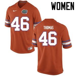 Women Florida Gators #46 Will Thomas College Football Jerseys Orange 985018-663