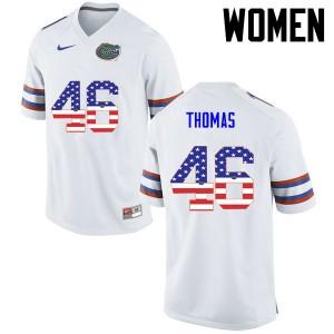 Women Florida Gators #46 Will Thomas College Football USA Flag Fashion White 296995-972