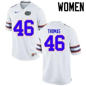 Women Florida Gators #46 Will Thomas College Football Jerseys White 972550-393