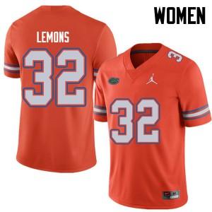 Jordan Brand Women #32 Adarius Lemons Florida Gators College Football Jerseys Orange 683484-949
