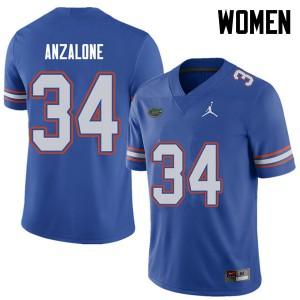 Jordan Brand Women #34 Alex Anzalone Florida Gators College Football Jerseys Royal 113135-127