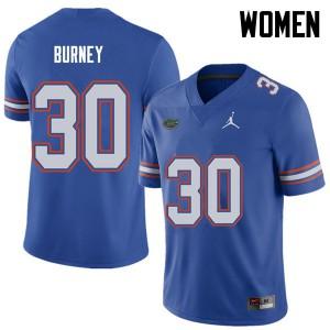 Jordan Brand Women #30 Amari Burney Florida Gators College Football Jerseys Royal 427015-182