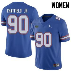 Jordan Brand Women #90 Andrew Chatfield Jr. Florida Gators College Football Jerseys Royal 859533-434