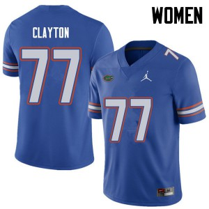 Jordan Brand Women #77 Antonneous Clayton Florida Gators College Football Jerseys Royal 377644-820