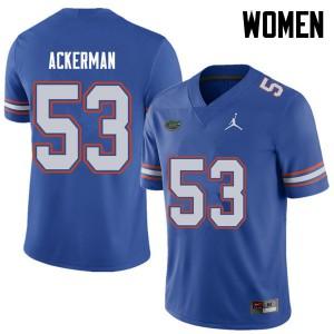 Jordan Brand Women #53 Brendan Ackerman Florida Gators College Football Jerseys Royal 613689-386