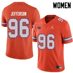 Jordan Brand Women #96 Cece Jefferson Florida Gators College Football Jerseys Orange 648956-714