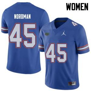 Jordan Brand Women #45 Charles Nordman Florida Gators College Football Jerseys Royal 528990-157