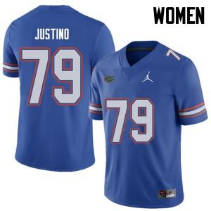 Jordan Brand Women #79 Daniel Justino Florida Gators College Football Jerseys Royal 478796-827
