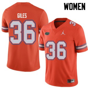 Jordan Brand Women #36 Eddie Giles Florida Gators College Football Jerseys Orange 860260-748