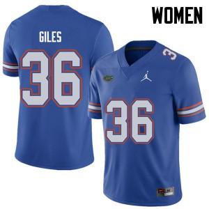 Jordan Brand Women #36 Eddie Giles Florida Gators College Football Jerseys Royal 190591-773