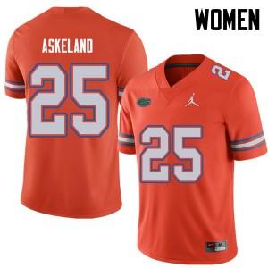 Jordan Brand Women #25 Erik Askeland Florida Gators College Football Jerseys Orange 749311-340