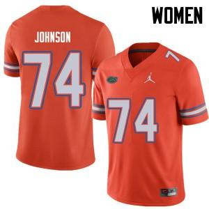 Jordan Brand Women #74 Fred Johnson Florida Gators College Football Jerseys Orange 476435-920