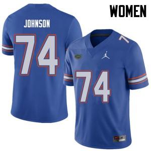 Jordan Brand Women #74 Fred Johnson Florida Gators College Football Jerseys Royal 464742-257