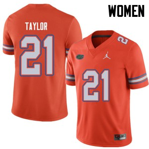 Jordan Brand Women #21 Fred Taylor Florida Gators College Football Jerseys Orange 827935-489