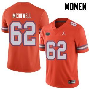 Jordan Brand Women #62 Griffin McDowell Florida Gators College Football Jerseys Orange 835780-446