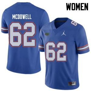 Jordan Brand Women #62 Griffin McDowell Florida Gators College Football Jerseys Royal 275037-357