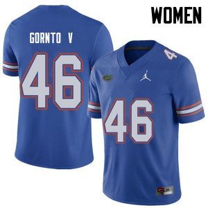 Jordan Brand Women #46 Harry Gornto V Florida Gators College Football Jerseys Royal 658441-441