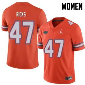 Jordan Brand Women #47 Isaac Ricks Florida Gators College Football Jerseys Orange 297419-130