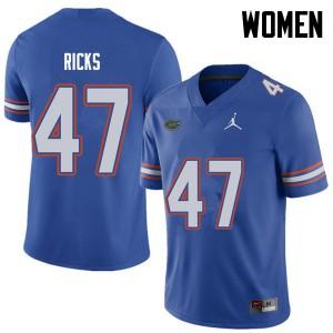 Jordan Brand Women #47 Isaac Ricks Florida Gators College Football Jerseys Royal 774431-920