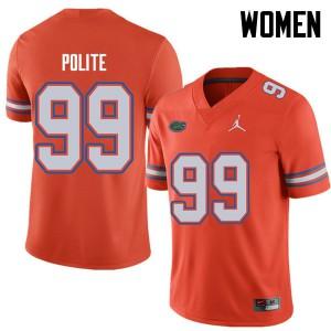 Jordan Brand Women #99 Jachai Polite Florida Gators College Football Jerseys Orange 638324-813