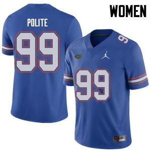 Jordan Brand Women #99 Jachai Polite Florida Gators College Football Jerseys Royal 180295-892