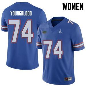 Jordan Brand Women #74 Jack Youngblood Florida Gators College Football Jerseys Royal 827592-302