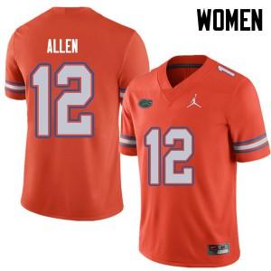 Jordan Brand Women #12 Jake Allen Florida Gators College Football Jerseys Orange 996471-563