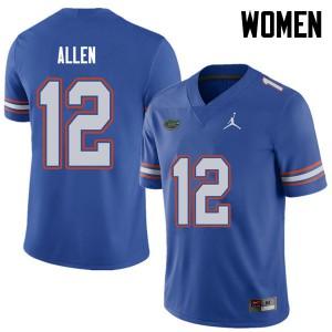 Jordan Brand Women #12 Jake Allen Florida Gators College Football Jerseys Royal 959617-667