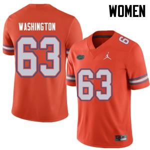 Jordan Brand Women #63 James Washington Florida Gators College Football Jerseys Orange 945142-546
