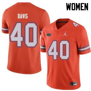 Jordan Brand Women #40 Jarrad Davis Florida Gators College Football Jerseys Orange 131761-535