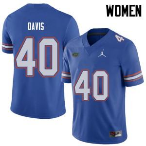 Jordan Brand Women #40 Jarrad Davis Florida Gators College Football Jerseys Royal 887059-982
